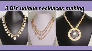 3 DIY unique necklaces making at home