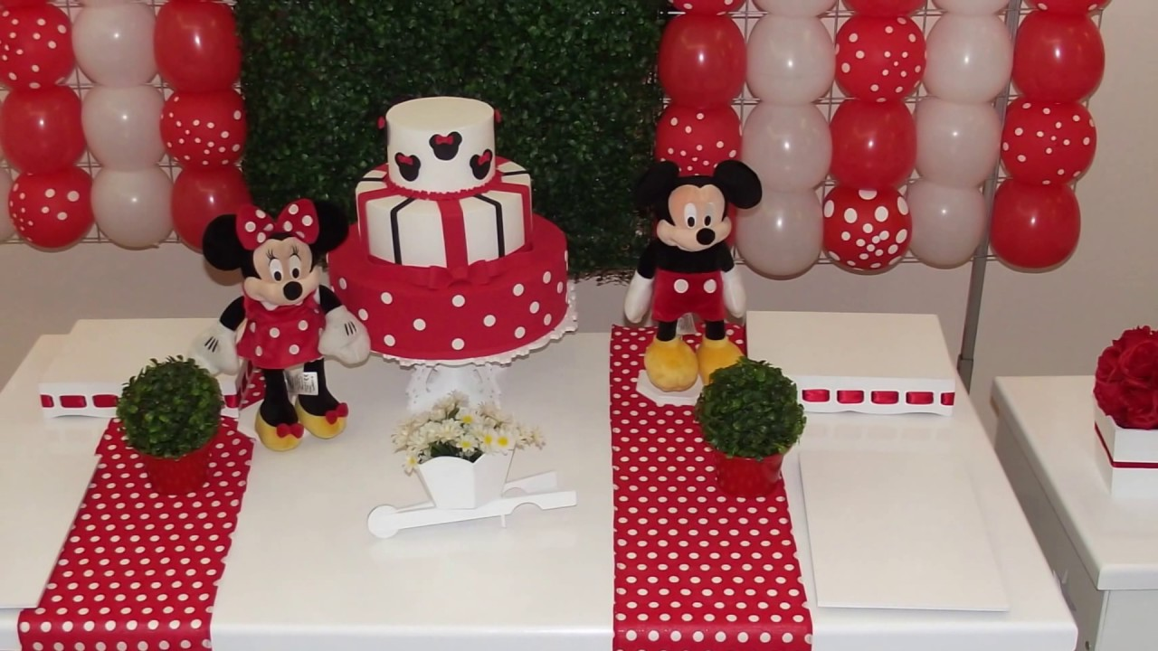 Ideias decoraç u00e3o festa Minnie Vermelha YouTube # Decoraçao De Festa Da Minnie Vermelha Simples