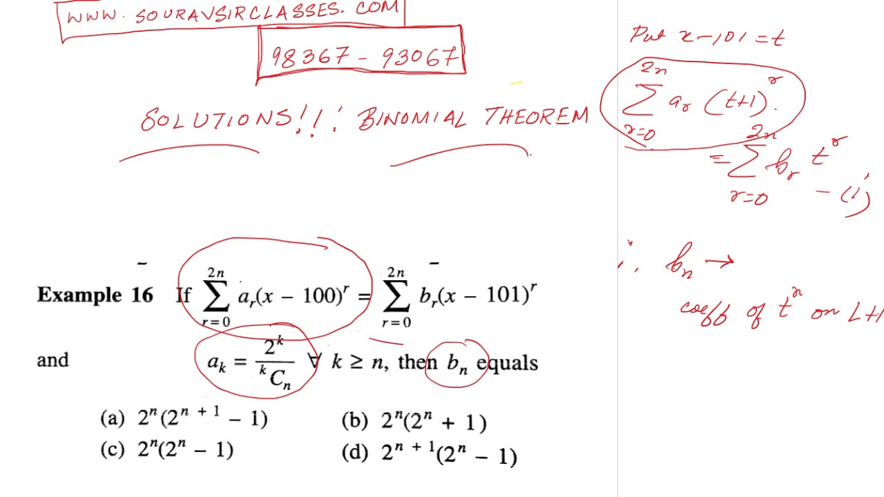Solutions Binomial Theorem 1 NOTES, ISS, IIT JEE, MAIN ADVANCED ...