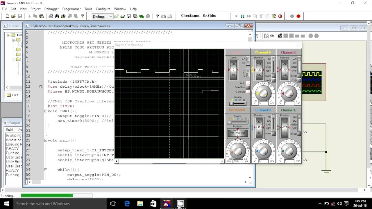 16 Timer 1 Calculation MICROCHIP PIC16F877A, CCS C PIC C, MPLAB, PROTEUS