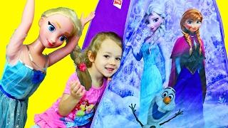 Elsa vs Ava! Disney Frozen Giant Surprise Toys Play House Tent & Evil Elsa Attacks My Size Doll