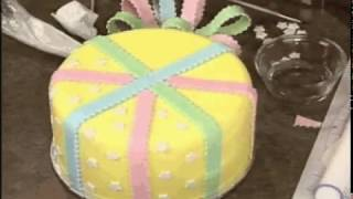 How to Make and Decorate Take a Bow Cake, Bright With White Cake & Holiday Happiness Cake by Wilton
