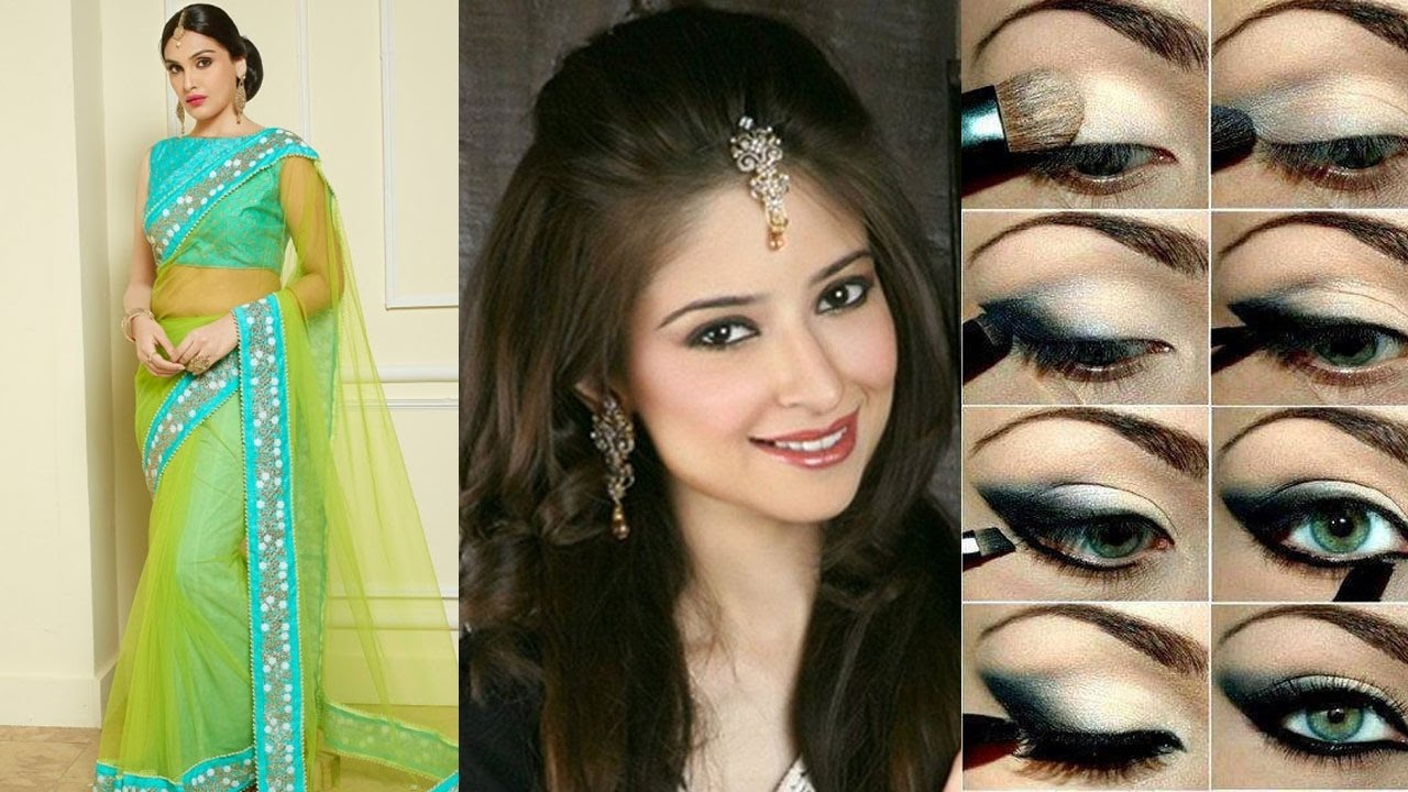3 different party styles saree draping with party makeup & hairstyle step by step to do for yourself