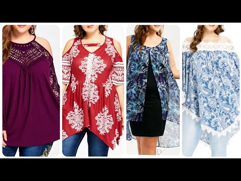 Latest And Elegant Women  Plus Size Casual Sheer Asymmetric Lace And Chiffon Blouse Designs