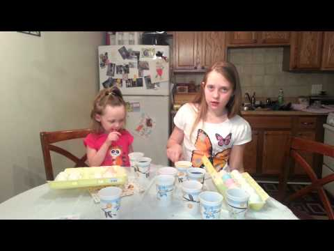 Jewel and Alexia dying Eggs for Easter