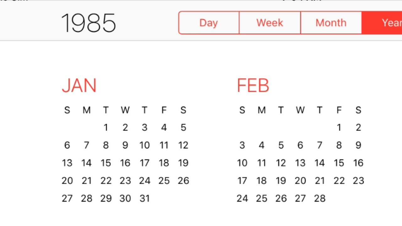 1985 Calendar.1985 Calendar