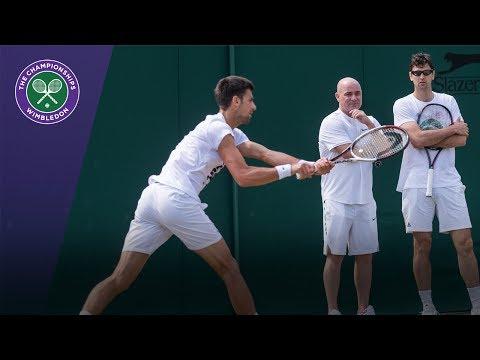 Wimbledon 2017 - Novak Djokovic practises with Agassi and Ancic