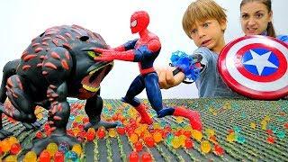 #ЧеловекПаук vs Теутан! Ловушка для МОНСТРА 🔫 Бластер с паутиной #Спайдермен Видео игры #Супергерои