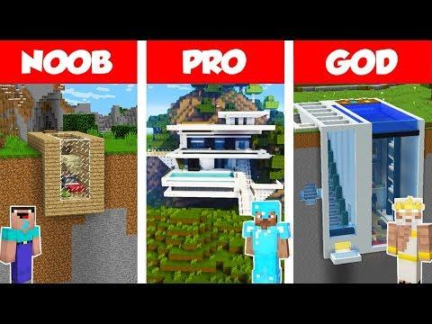 Minecraft NOOB vs PRO vs GOD: MODERN MOUNTAIN HOUSE BUILD CHALLENGE in Minecraft / Animation