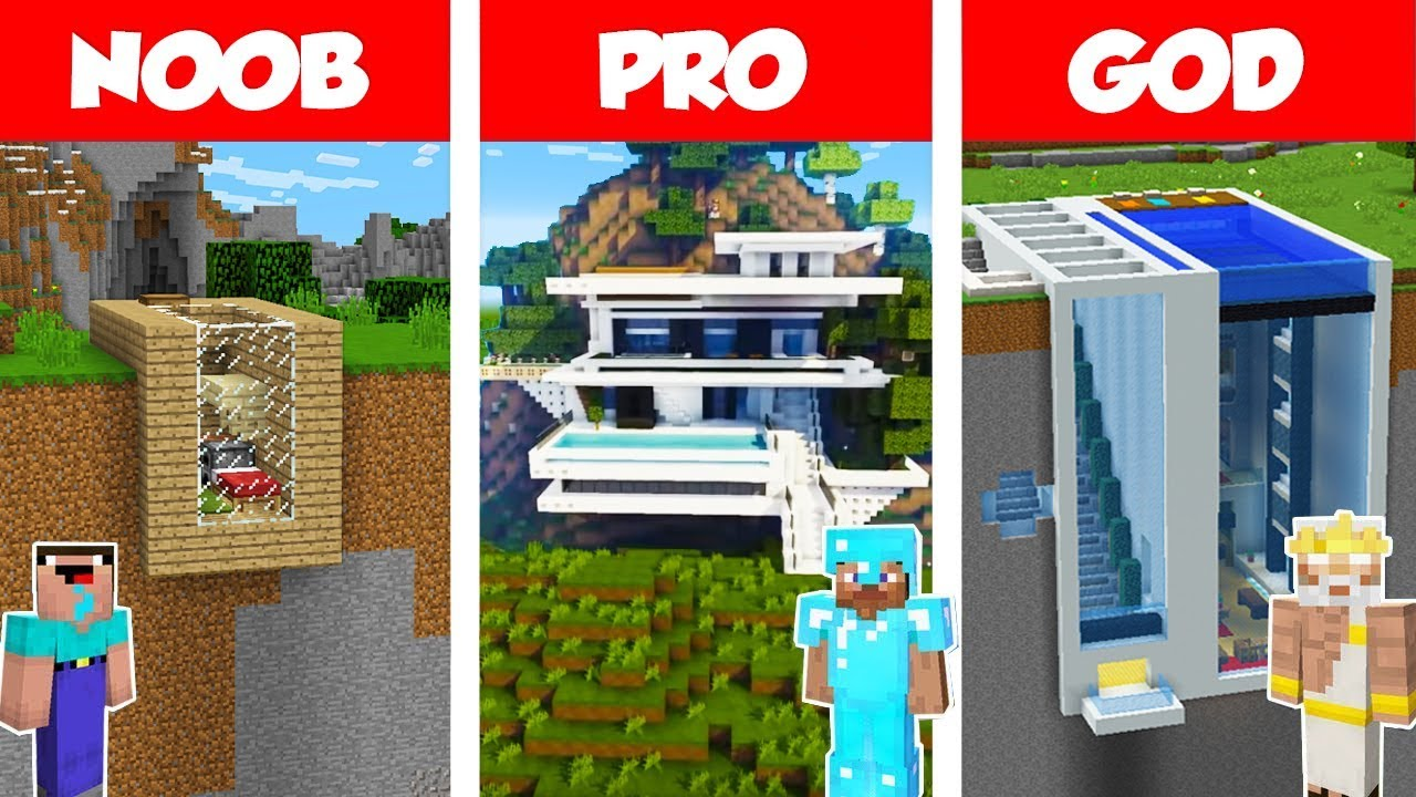 Minecraft Noob Vs Pro Vs God Modern Mountain House Build Challenge In Minecraft Animation Youtube