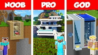 Minecraft Noob Vs Pro Vs God Modern Mountain House Build Challenge In Minecraft  Animation