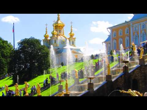 Peterhof Gardens and Catherine Palace. St. Petersburg. Russia.With automatically translate
