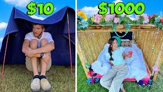 $10 VS $1000 OVERNIGHT FORT! *HUSBAND VS WIFE*