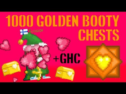 Growtopia - 1000+ Golden Booty Chests + GHC !!!