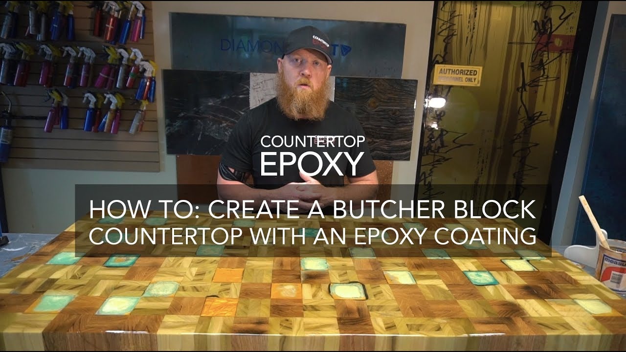 how to create a butcher block countertop with an epoxy coating youtube. Black Bedroom Furniture Sets. Home Design Ideas