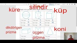 Geometrik Cisimler şekiller Küp Prizma Koni Silindir Küre üçgen Kare Dikdörtgen