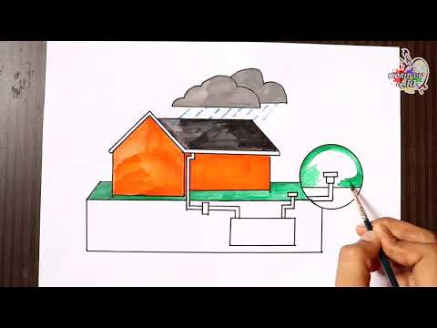 Repeat Rain Water Harvesting Drawing   How to save the water