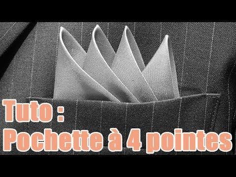 Pliage d 39 une pochette quatre pointes la technique youtube - Comment porter une pochette ...