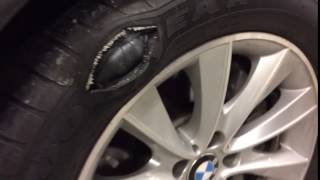 Goodyear Eagle LS2 runflat Giant Bubble blows out(A giant bubble on a good year Eagle LS2 run flat tire blows out., 2017-01-06T13:17:18.000Z)
