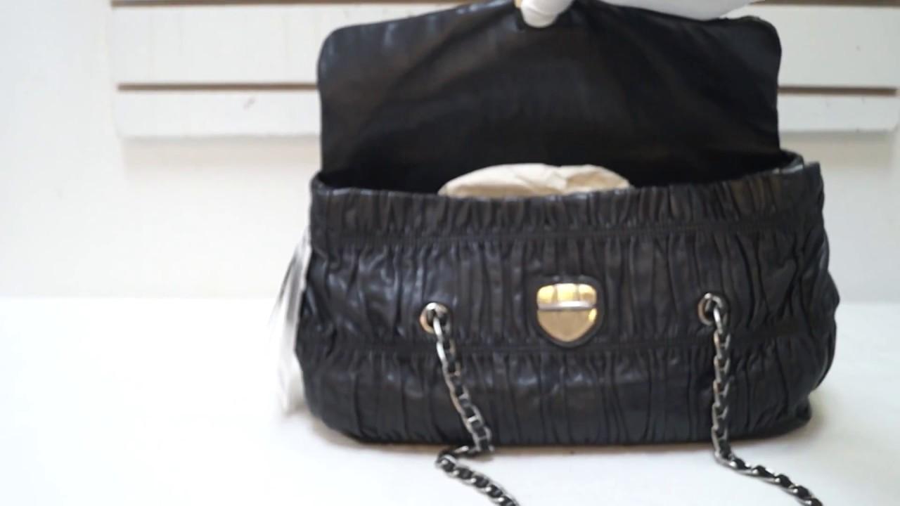TT2131 PRADA Black Nappa Leather Gaufre Ruched Flap Shoulder Bag ... 1b207e89ba