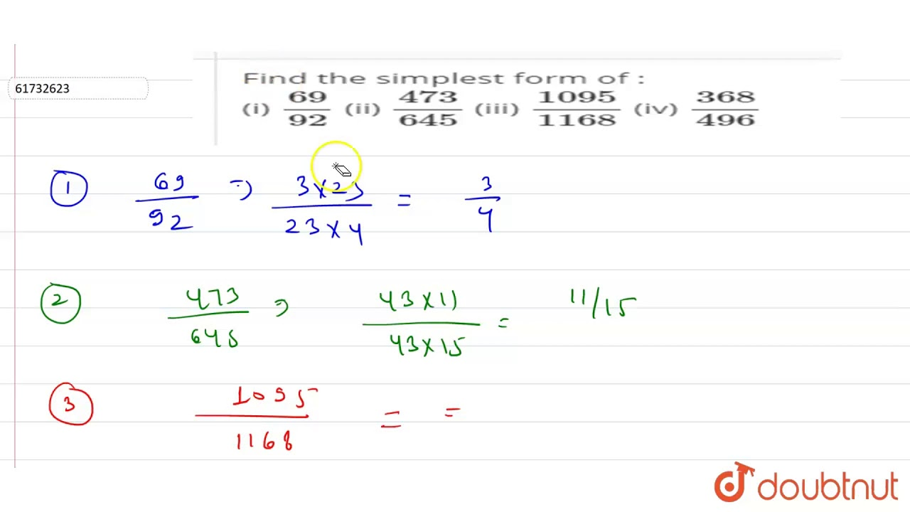 Find the simplest form of : (i) ` 7/7` (ii) ` 7/7` (iii) ` 7/7`  (iv) ` 7/7`