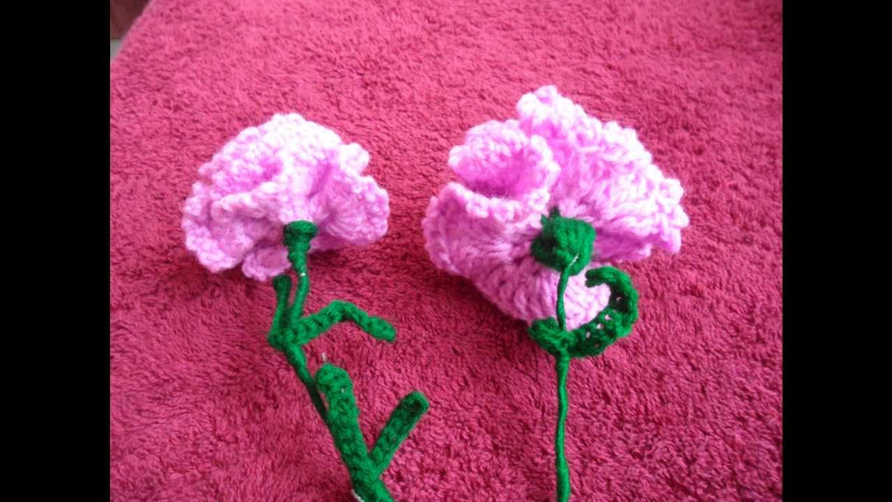 Crochet Carnation Flower: Type 1 Tutorial - YouTube