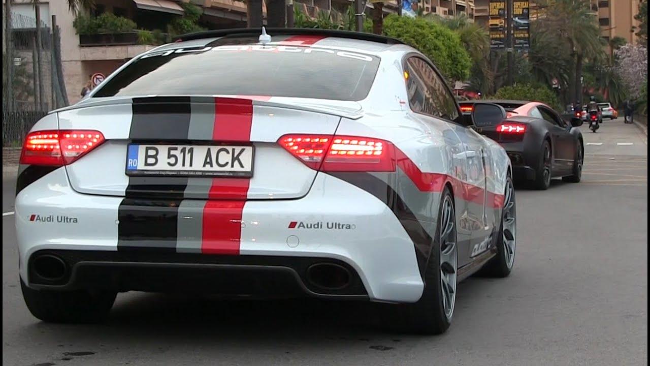 LOUD Audi RS W Custom Exhaust In Monaco YouTube - Audi s5 custom