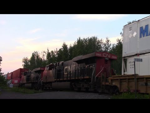 Thumbnail: Rare Double DPU! CN Stack Train 121 at Berry Mills, NB (Aug 15, 2017)