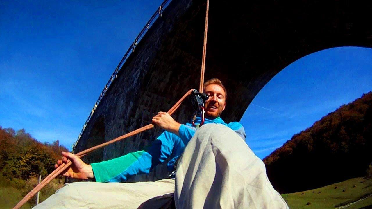 Illegal rope swing on railway bridge teliu youtube for Swing set bridge