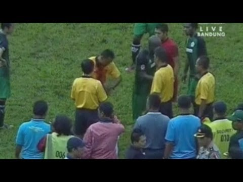 Indonesian football player draws blood after punching refere