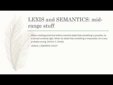 Revision - Lexis and Semantics