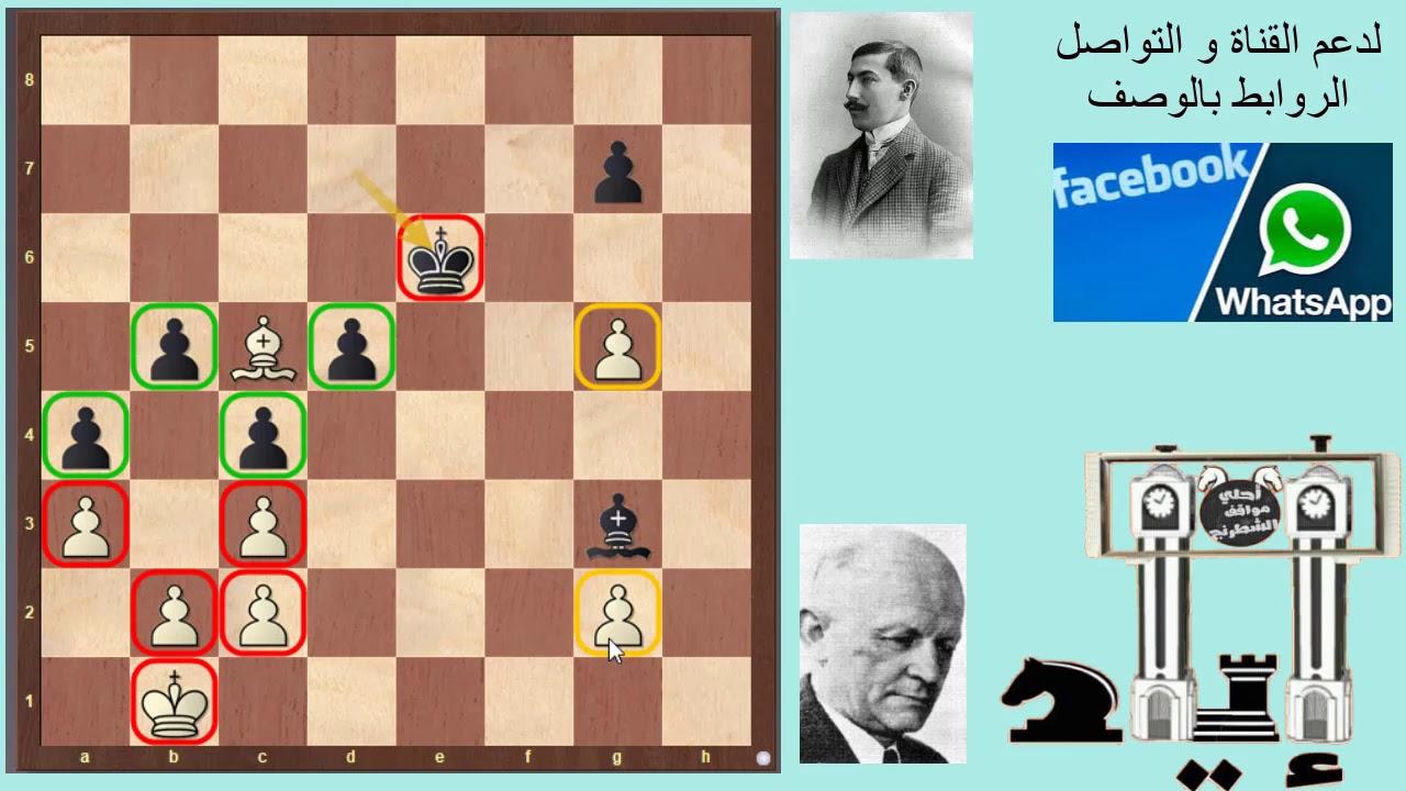 مباراة شطرنج جميلة بنهاية بيادق أسطورية