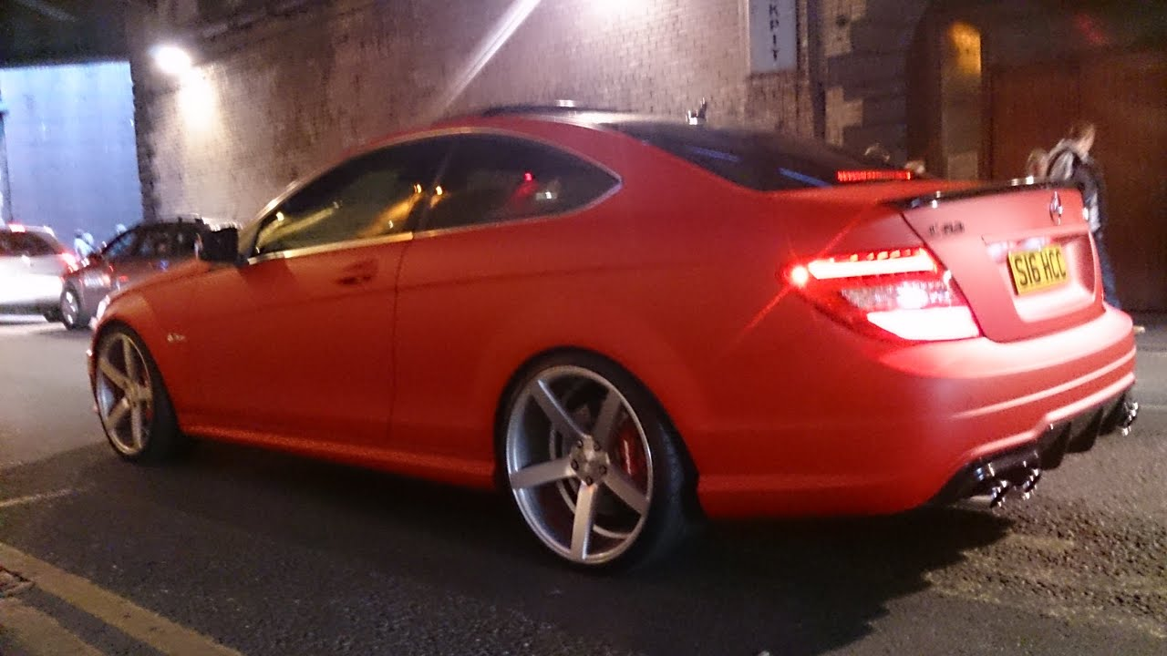 Mercedes C63 Amg 0 60 >> Matte Red C63 AMG Coupe - Loud Revs in Leeds! - YouTube