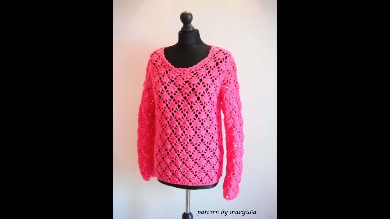 how to crochet pink pullover sweater by marifu6a video tutorial ...
