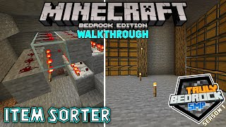 Creating an item sorter for a spawner farm  Minecraft Walkthrough on Truly Bedrock S1E57