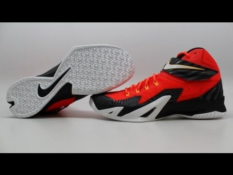 on sale 906ec b6f00 Nike Zoom LeBron Soldier 8 Premium 688579-610 KixRx.com Bright Crimson White  Black Mens - YouTube