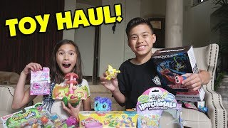 HUGE TOY UNBOXING!!! Toy Fair Toy Haul! Shopkins, Slither.io, Air Hogs, Flush Force, Hatchimals!