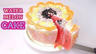 How To Make Watermelon Cake with Cream sprinkles & Orange Blueberry...