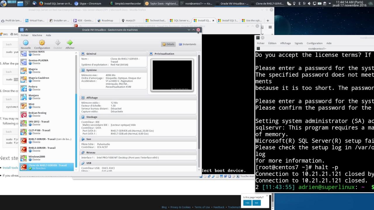 Installation de Microsoft SQL Server sous RedHat 7 (CentOS) et Demo !