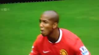 Ashley Young getting bird poo in his mouth!