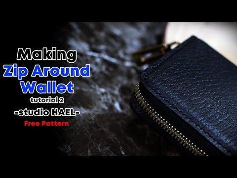 (가죽공예) 지퍼반지갑 만들기 제작과정 2편 / 무료패턴 /Making wallet / Zip around wallet / Free Pattern / Leather craft