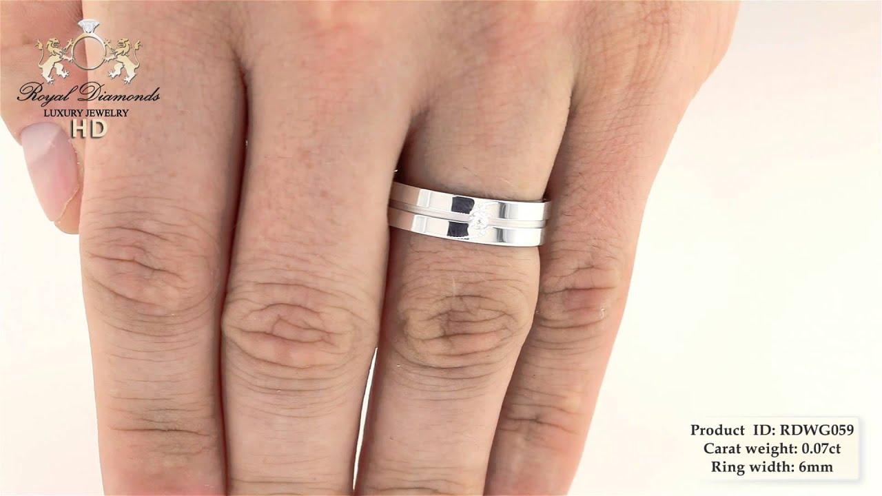 Verighetainel Cu Diamant Barbat Aur Alb 18kt Cu Diamant Rotund