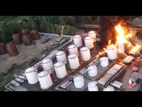 Drone Captures Dramatic Footage of Fire at Ukrainian Oil-Storage Facility, June 8