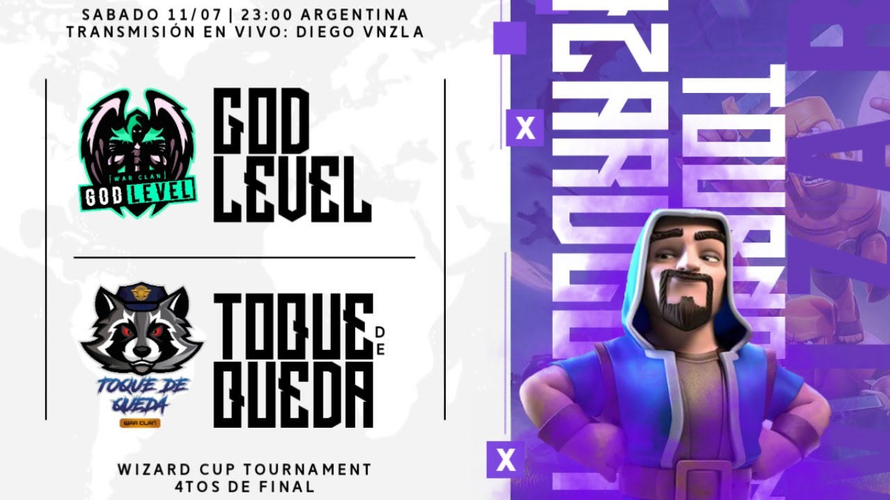 DIRECTO  CUARTOS DE FINAL | GOD LEVEL VS TOQUE DE QUEDA | WIZARD CUP | Clash Of Clans | DiegoVnzlaYT