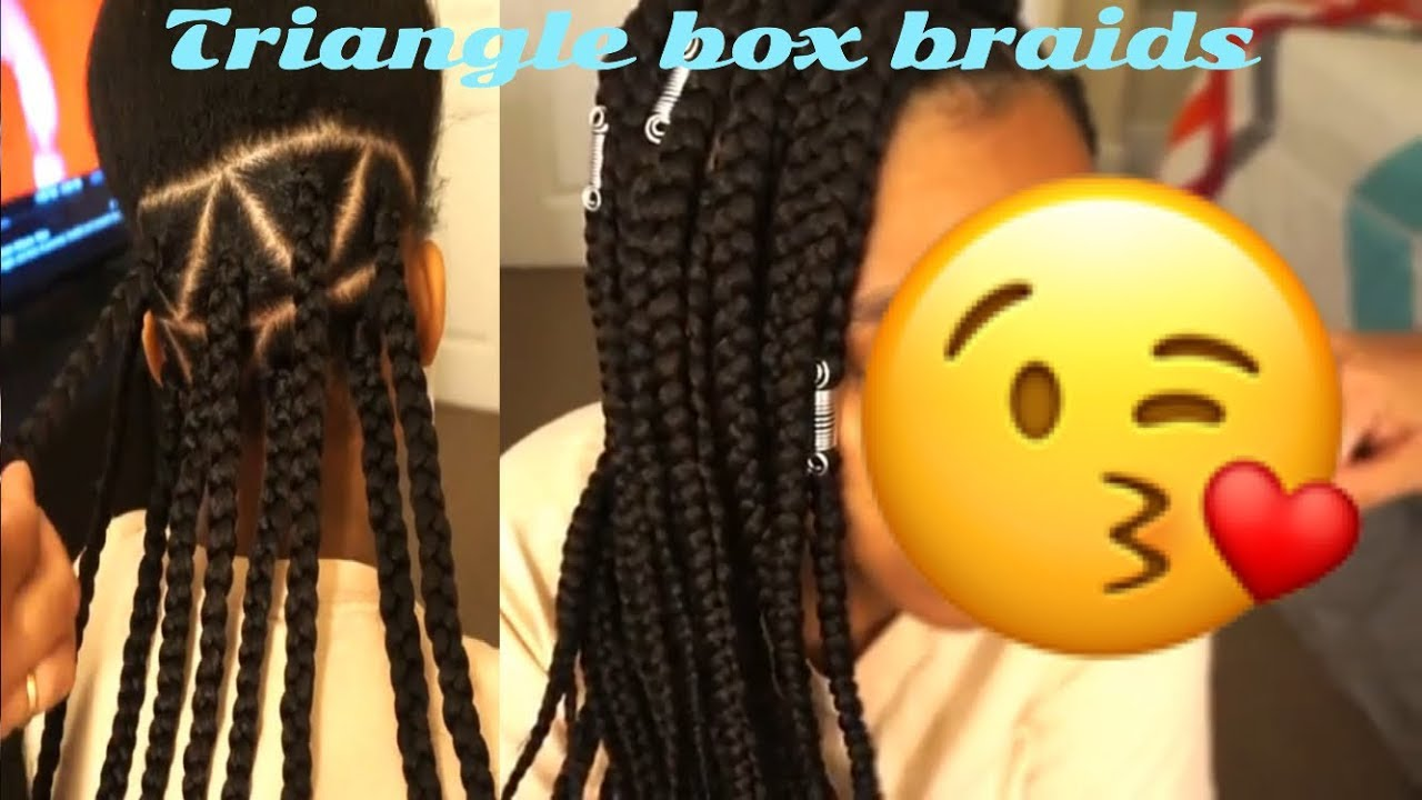 How To Triangle Part Box Braids Using Only 2 Packs Of Hair Youtube