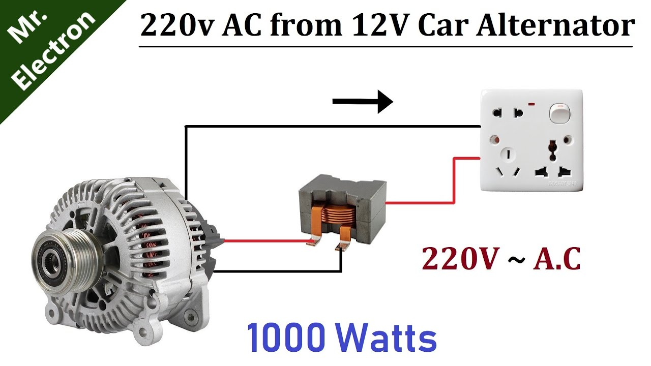 220v Ac From 12v 90 Amps Car Alternator 1000w Diy Youtube