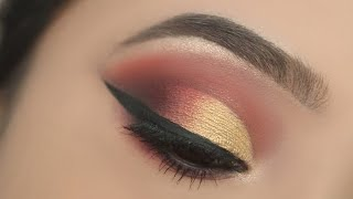 GOLDEN BRIDAL EYE MAKEUP || STEP BY STEP RED AND GOLDEN EYE MAKEUP FOR BEGINNERS ||SHILPA