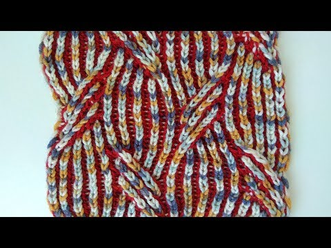 Mirrored cable, two-color brioche stitch knitting pattern + free chart