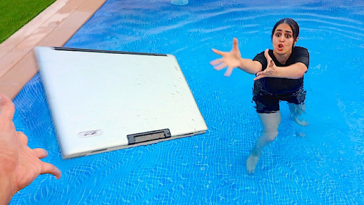 MY SISTERS LAPTOP IN THE POOL PRANK *GONE WRONG* !!!