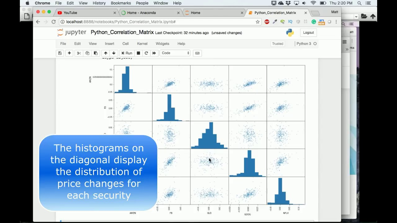 Create and Graph Stock Correlation Matrix   Scatter Matrix Python pandas